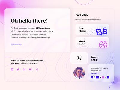 Personal Website - Theme Exploration #1 portfolio website personal branding blurred background blur glassmorphism glass landing page ui design web design