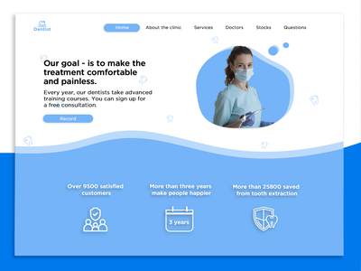 Dentist web design style beauty fashion design dentistry white blue health clinic doctor tooth