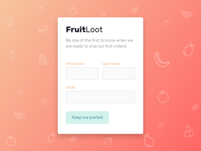 FruitLoot Subscription Form fruit ui form signup dailyui1 dailyui