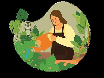Planting vector design website ux ui illustration flat