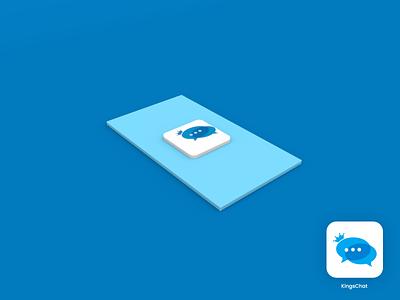 kingschat blue logo design branding logo