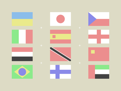Flags spain flat flag flags brasil italy japan england desaturated