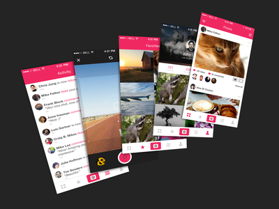 Photo app Free PSD ui app ios ux instagram filter activity like free psd freebies iphone