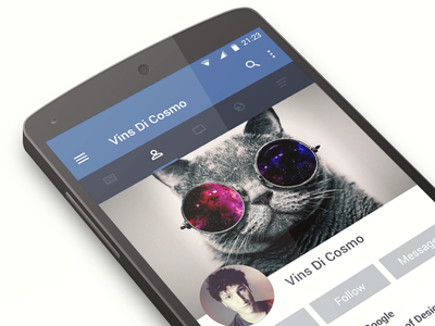 Facebook Android redesign android app ui ux material design l facebook profile tab tabbar buttons flat