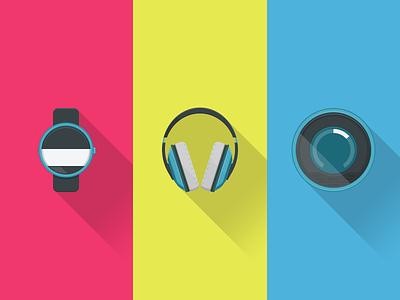 Icons icons flat moto 360 nest beats headphones smartwatch shadow android ui infographics