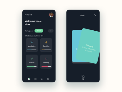 Language Learning App. language app app design design mobile uxdesign uidesign modern minimal