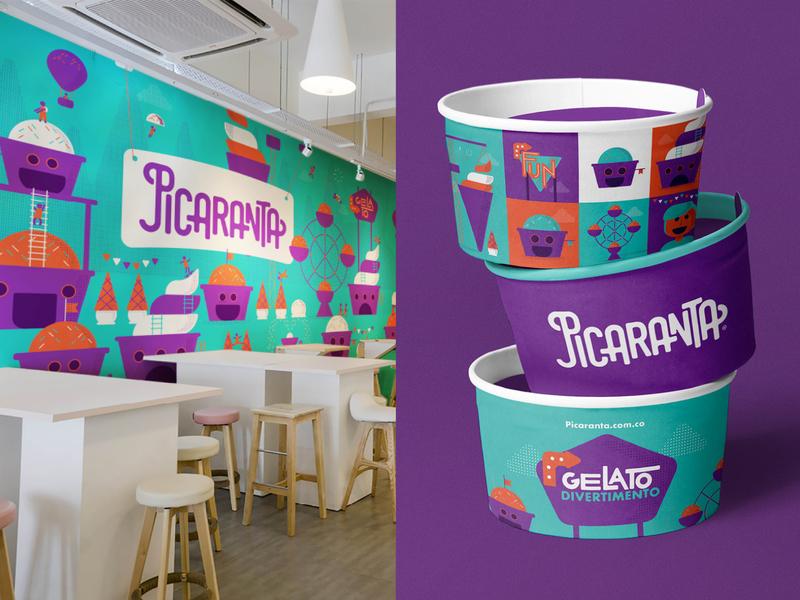Ice cream branding design packaging color palette restaurant logo food logo branding and identity interior design illustration logotipo logotype typo typography ice cream logo ice cream shop branding