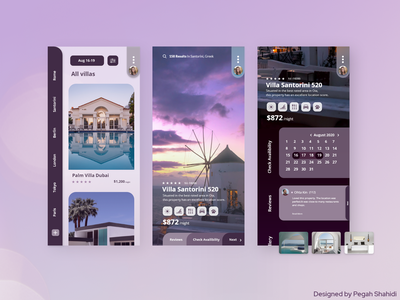 Villa Booking Application ui purple design app villa hotel