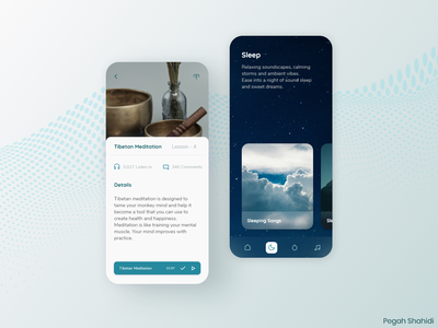 Meditation Application mobile design design ui meditation meditate uidesign designwich designchallenge