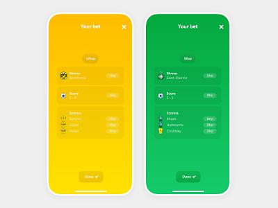 Bet summary - Ranking app ui bet app design football product design mobile app