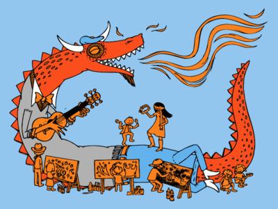 Phoenix Festival of the Arts Dragon Sketch 2014