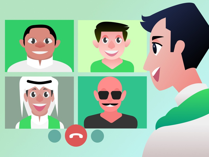Virtual Calibration [Saudi Arabia 90th National Day] vector vector art illustration art national day video chat meeting virtual meeting virtual illustraion saudi arabia