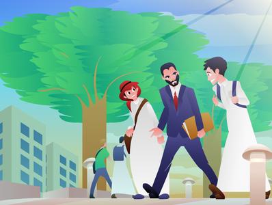 University vector vector illustration university united arab emirates students teacher illustraion saudi arabia