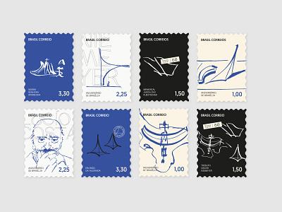 Brasília City Branding - Stamps postcard stamps oscar niemeyer poster graphic design logo illustration typography exhibition design brasilia branding city branding