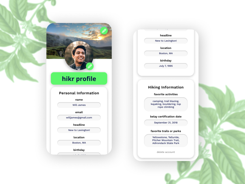Daily UI 6 - Hiking App Profile Page hiking profile page profile dailyui dailyui006
