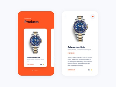 Product UI for Mobile app