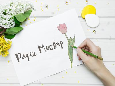 Paper Mockup paper mockup sketching sketch hero desk pen flower feminine hand drawing paper mockup