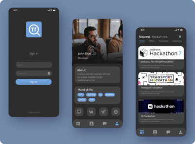 Developer social network app. prototype mobile developer contest hackathon dark app dark mode dark theme social network ui design app