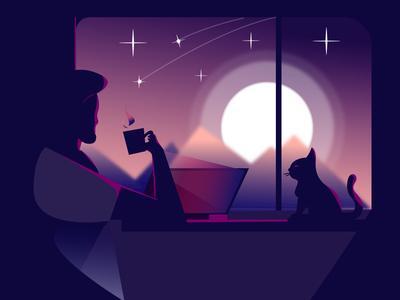 illustration of drinking coffee at dawn
