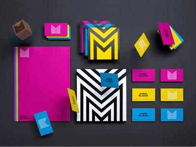 Mario Mlakar Visual Identity color identity fluorescent magenta grid logo design croatia levitation fly seal monogram