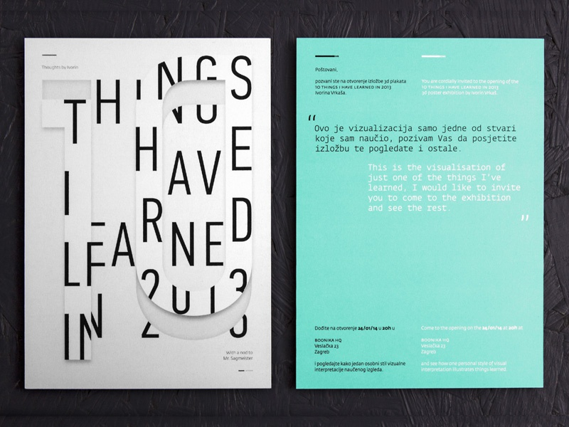 10 Things I Have Learned in 2013 design croatia poster 2013 clean graphic helvetica learn minimalist new york sagmeister typographic