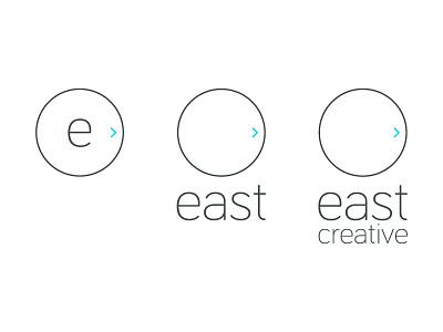 East Creative branding v01 east minimal branding logo brand circle simple arrow lowercase bariol