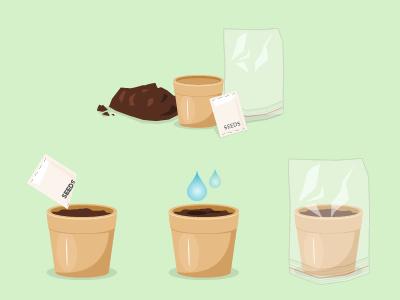 Compost, Pot, Seeds & Sandwich Bag compost eath soil seeds packet sandwich bag plastic bag polythene cellophane water icons gardening seedlings planting fireworks illustration