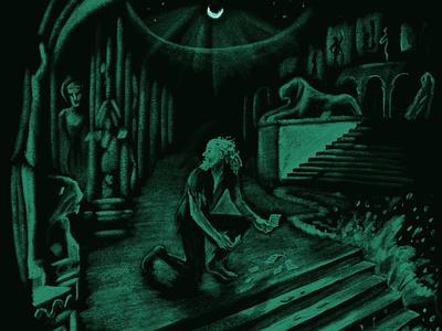 Piranesi statue mythology night corey corcoran illustration