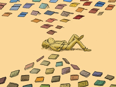 The Story of My Life, Told Through Libraries reading books library illustration