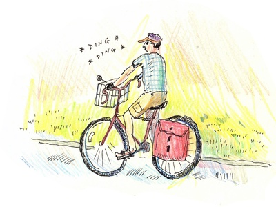 Bike ride outdoors outdoor ink colored pencil corey corcoran illustration sketch bike ride bike bicycle
