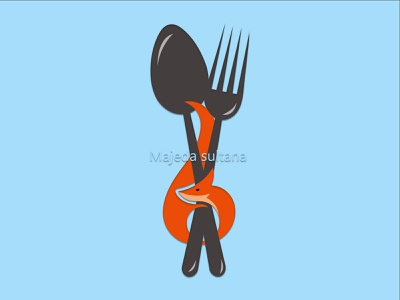 Fox & Spoon illustration graphic design logo design