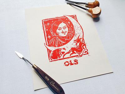 Nikolai Gogol craft blockprint handmade linocut portrait writers design graphic art illustration ols-dsgn