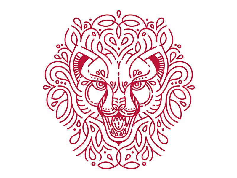 Cheetah vector cat cheetah flourish line art