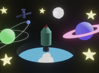 Space Adventure Time planet rocket space blender 3d blender 3d animation illustraion 3d art