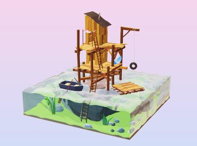 Working from Home 3d illustration illustraion isometric illustration isometric art isometric ocean sea architecture house 3d animation 3d art blender3d blender 3d