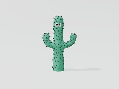 Sad Cactus cartoon 3d artwork 3d illustration illustraion blender 3d blender 3d art 3d cacti cactus