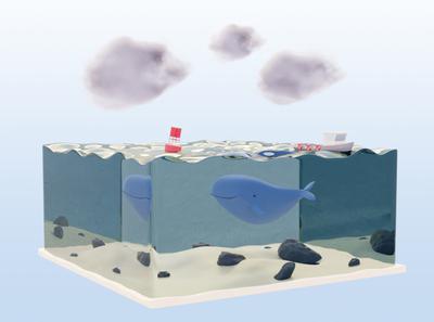 Finley the Whale illustraion isometric clouds blender 3d blender 3d art 3d ilustration 3d boat fishing boat buoy sea whale