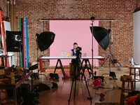 Ueno filming behind the scenes