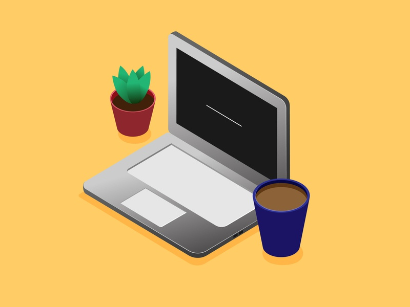 Work from Home work laptop isometric illustration coffee