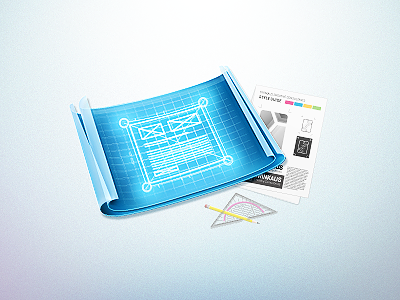 Websites & more @ trinkaus.cc v3 icon design websites blueprint paper illustrator pseudo-3d corporate identity style guide ruler pencil perspective