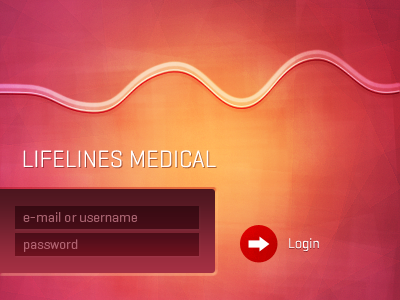 Lifelines Medical debut login screen ux ui red pink yellow form
