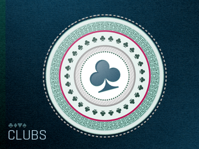 Suits: CLUBS suit symbol illustrator button vector collection suits green blue pink geogrotesque