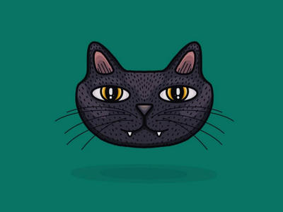 Black Cat Illustration graphic character design character cat procreate illustration