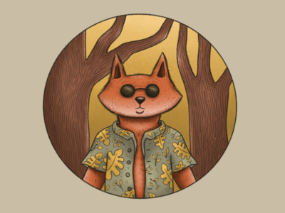 Fox Badge illustration procreate