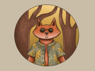 Fox Badge illustration procreate