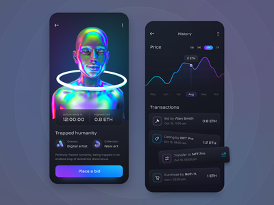 NFT Auction & Marketplace mobile app non-fungible token ui ux mobile cryptocurrency decentralized dapps crypto blockchain token auction marketplace nft