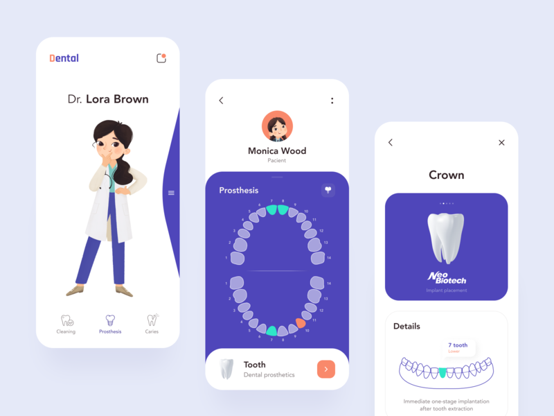Dental App sunday button doctor interface mobile app dental clinic design dentist illustration clean minimal uiux mobile procreate health app health care healthcare dental care clinic dental