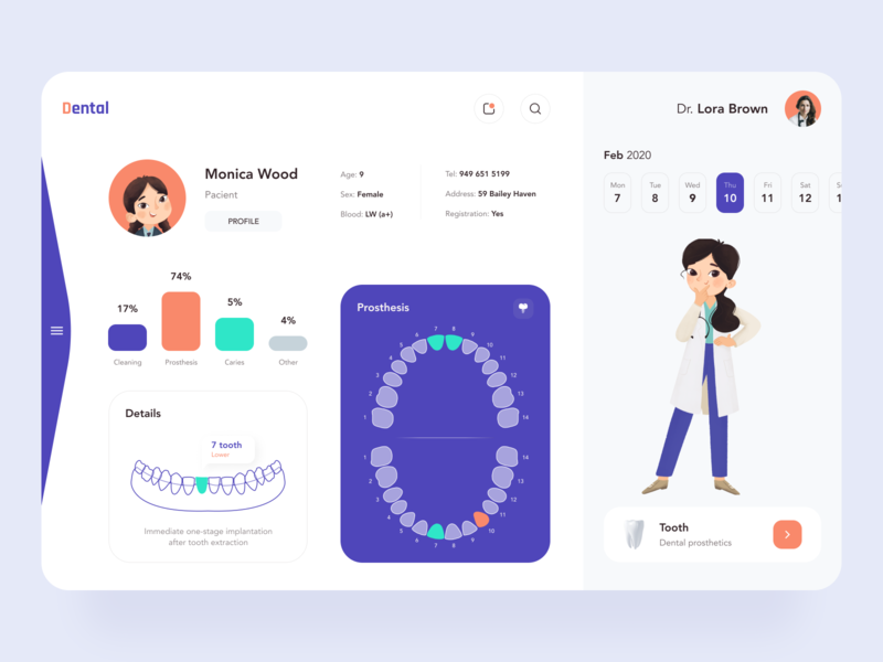 Dental Dashboard sunday button ux ui web dental care dental clinic doctor dashboard healthcare dentist dental figma colors app procreate interface illustration minimal design