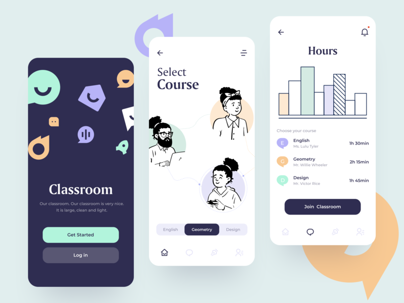 Classroom App sunday button ios creative character ux iu learning lessons student teach education academy classroom mobile colorful app minimal design clean