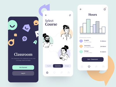 Classroom App sunday button ios creative character ux iu learning lessons student teach education academy classroom mobile colorful app minimal design